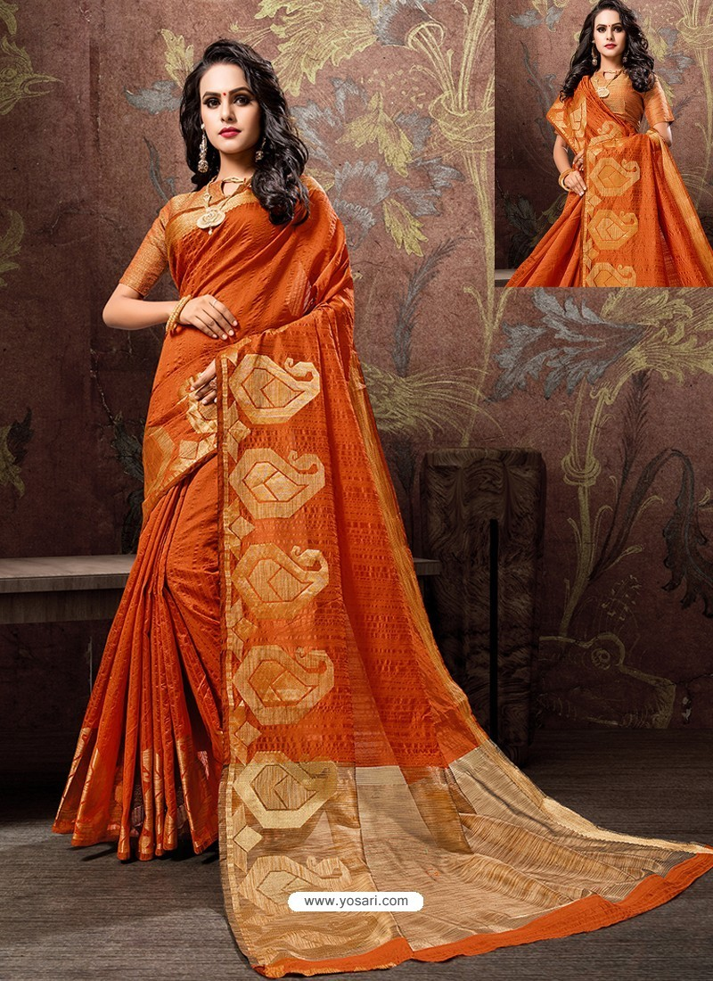 Orange Heavy Embroidered Designer Cotton Silk Sari