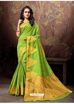Parrot Green Heavy Embroidered Designer Cotton Silk Sari
