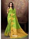 Parrot Green Heavy Embroidered Designer Cotton Silk Sari