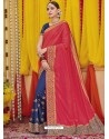 Rose Red Heavy Embroidered Designer Silk Sari