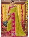 Parrot Green Heavy Embroidered Designer Silk Sari