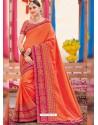 Orange Heavy Embroidered Designer Silk Sari