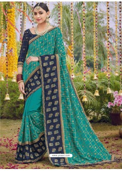 Teal Heavy Embroidered Designer Silk Sari
