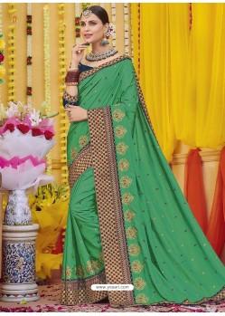 Forest Green Heavy Embroidered Designer Silk Sari