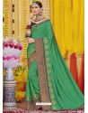 Forest Green Heavy Embroidered Designer Silk Sari