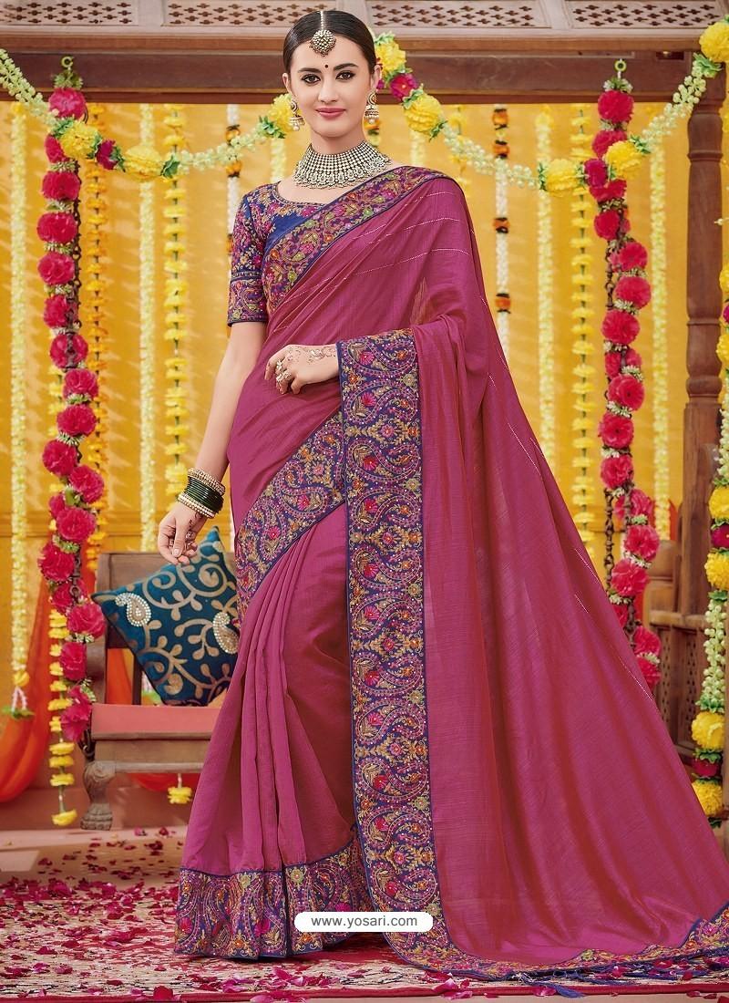 Rose Red Heavy Embroidered Designer Silk Sari