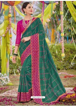 Dark Green Heavy Embroidered Designer Silk Sari