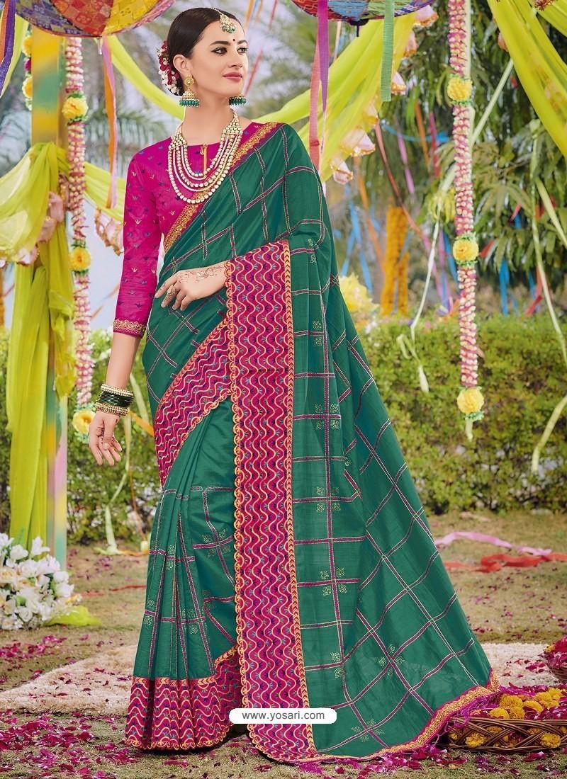 Dark Green Heavy Embroidered Designer Silk Sari