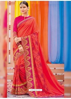 Dark Peach Heavy Embroidered Designer Silk Sari