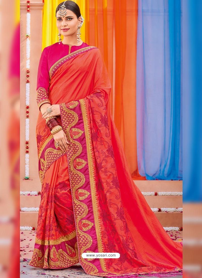 Dark Peach Heavy Embroidered Designer Silk Sari