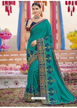 Teal Heavy Embroidered Designer Silk Sari
