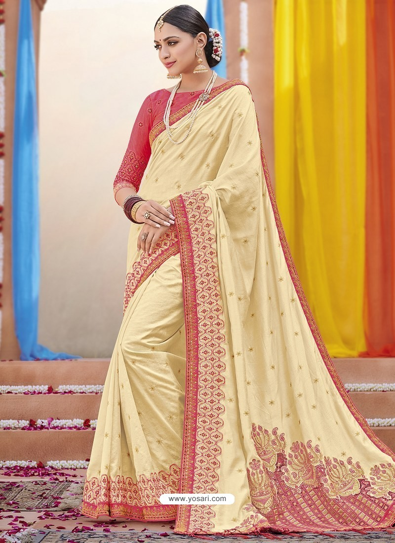 Cream Heavy Embroidered Designer Silk Sari