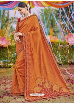 Orange Heavy Embroidered Designer Silk Sari