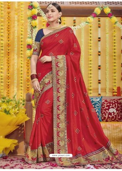 Red Heavy Embroidered Designer Silk Sari