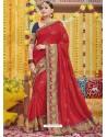 Red Heavy Embroidered Designer Silk Sari