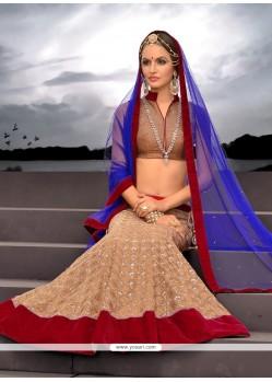 Amazing Beige Net Designer Lehenga Choli