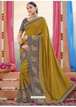 Corn Heavy Embroidered Designer Silk Sari