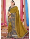 Corn Heavy Embroidered Designer Silk Sari