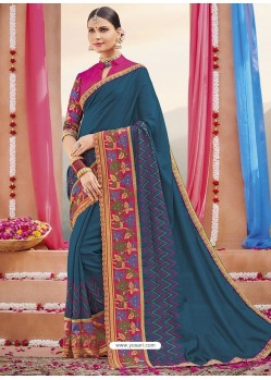 Teal Blue Heavy Embroidered Designer Silk Sari