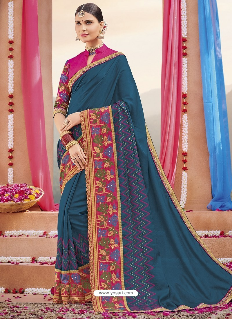 Teal Blue Heavy Embroidered Designer Silk Sari