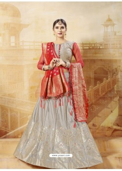 Grey Heavy Embroidered Silk Wedding Lehenga Choli