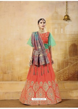 Orange Heavy Embroidered Silk Wedding Lehenga Choli