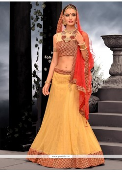 Graceful Cream Net Designer Lehenga Choli