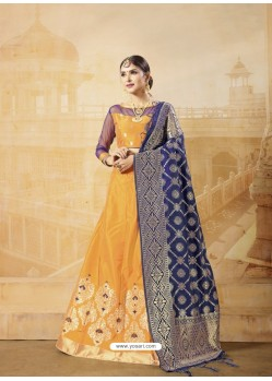 Yellow Heavy Embroidered Silk Wedding Lehenga Choli