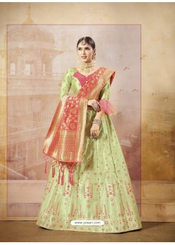 Green Heavy Embroidered Silk Wedding Lehenga Choli