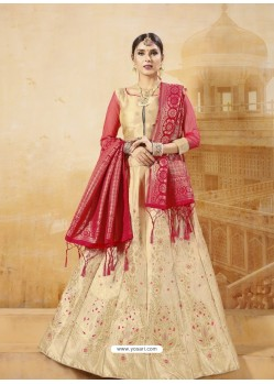 Gold Heavy Embroidered Silk Wedding Lehenga Choli
