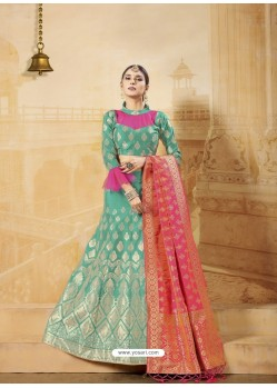 Jade Green Heavy Embroidered Silk Wedding Lehenga Choli