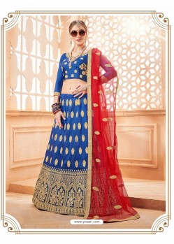 Dark Blue Heavy Embroidered Wedding Lehenga Choli