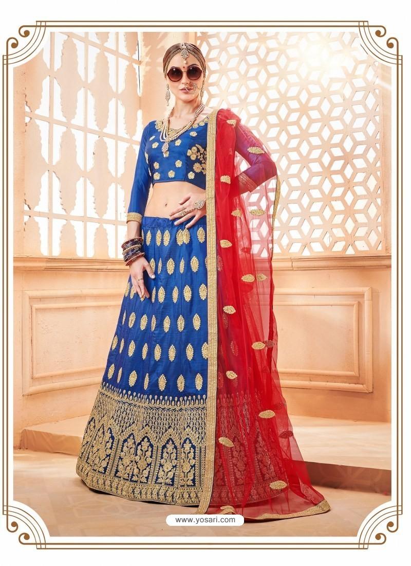 Dark Blue Heavy Embroidered Wedding Lehenga Choli
