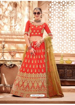 Orange Heavy Embroidered Wedding Lehenga Choli