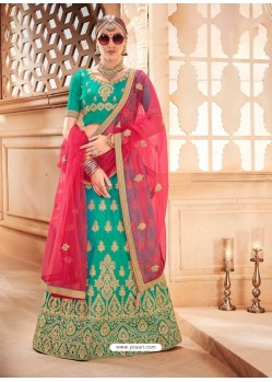 Jade Green Heavy Embroidered Wedding Lehenga Choli