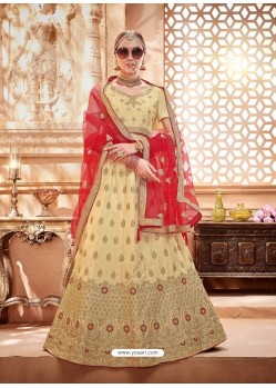 Cream Heavy Embroidered Wedding Lehenga Choli