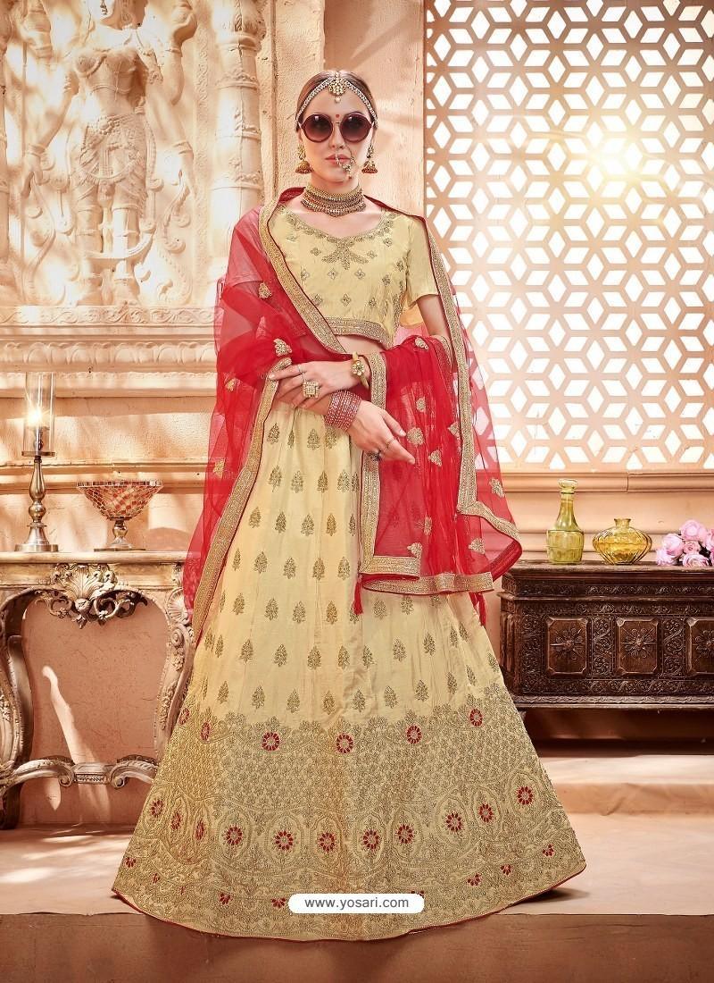 Cream Heavy Embroidered Wedding Lehenga Choli