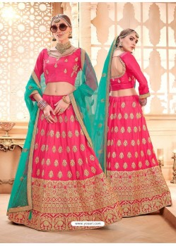 Hot Pink Heavy Embroidered Wedding Lehenga Choli