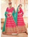 Hot Pink Heavy Embroidered Wedding Lehenga Choli