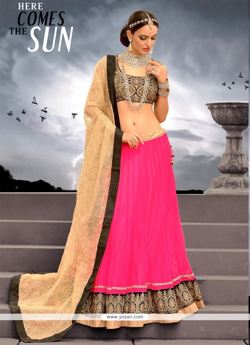 Hot Pink Net Designer Lehenga Choli