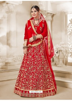Red Heavy Embroidered Velvet Wedding Lehenga Choli