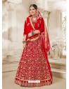 Red Heavy Embroidered Velvet Wedding Lehenga Choli