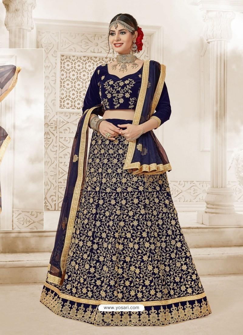 Navy Blue Heavy Embroidered Velvet Wedding Lehenga Choli