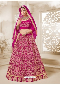 Rani Heavy Embroidered Velvet Wedding Lehenga Choli