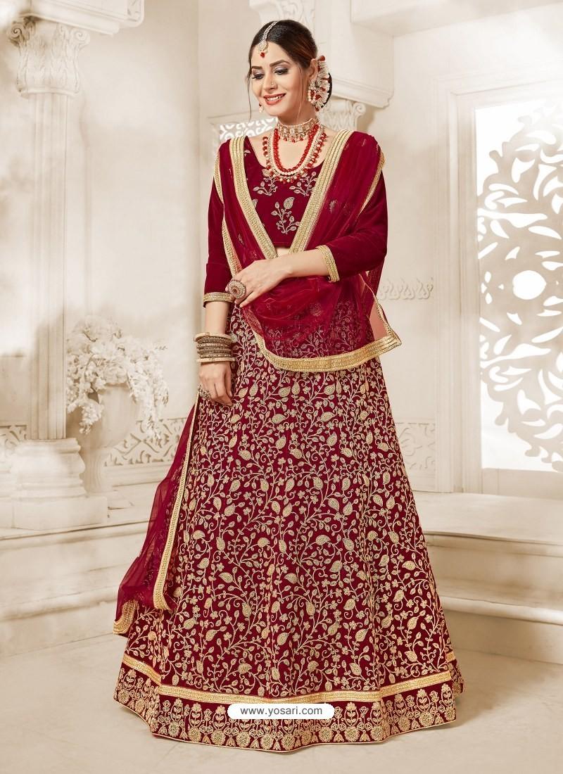 Maroon Heavy Embroidered Velvet Wedding Lehenga Choli