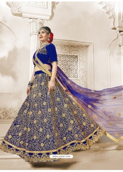 Royal Blue Heavy Embroidered Velvet Wedding Lehenga Choli