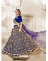 Royal Blue Heavy Embroidered Velvet Wedding Lehenga Choli