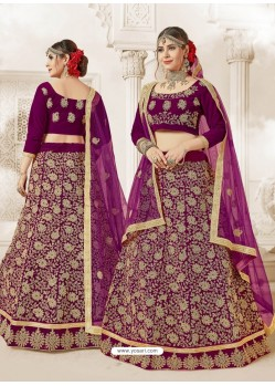Deep Wine Heavy Embroidered Velvet Wedding Lehenga Choli