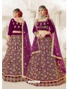 Deep Wine Heavy Embroidered Velvet Wedding Lehenga Choli
