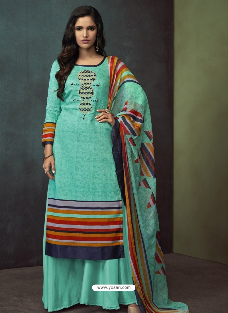Sky Blue Heavy Embroidered Designer Palazzo Suit
